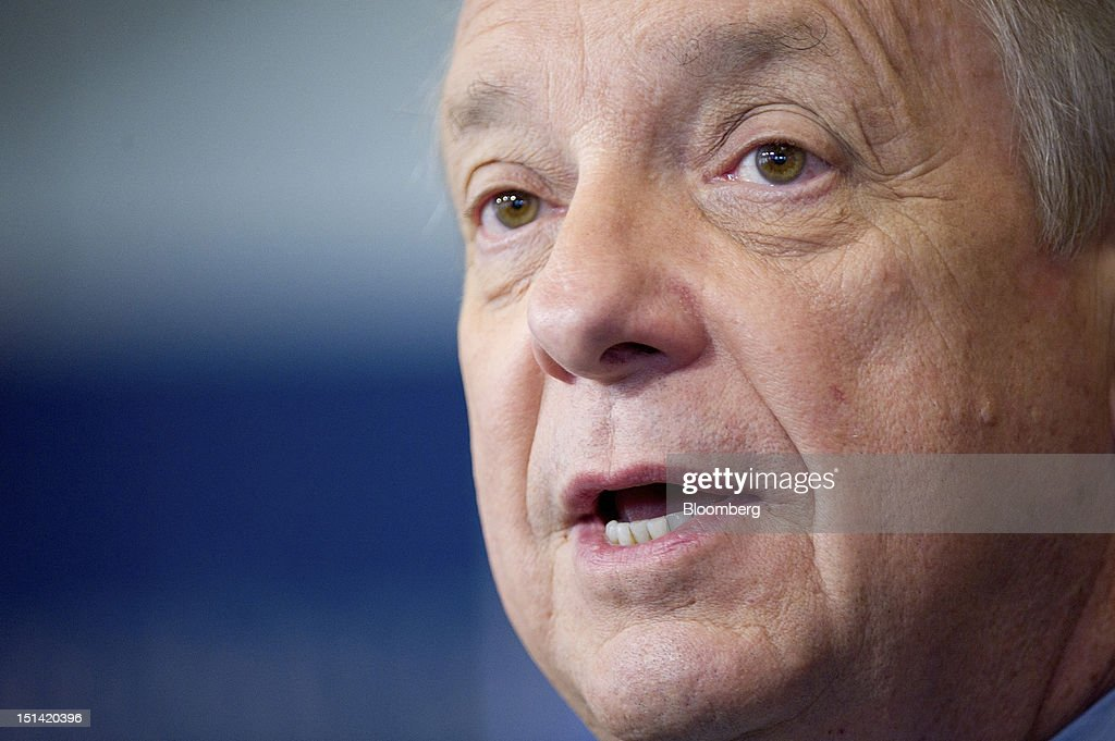 """U.S. Senator Richard Durbin, a Democrat from Illinois, speaks inside the Bloomberg Link during day three of the Democratic National Convention (DNC) in Charlotte, North Carolina, U.S., on Thursday, Sept. 6, 2012. Four years after the nation made history by electing him the first African-American president, Barack Obama asked for a second term with a pledge to keep rebuilding a battered economy in a way that """"may be harder but it leads to a better place."""" Photographer: David Paul Morris/Bloomberg via Getty Images"""