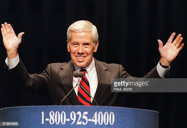 Senator Richard Lugar smiles while he pronounces a speech during the 3United we stand America conference of the republican presidential candidates 12...