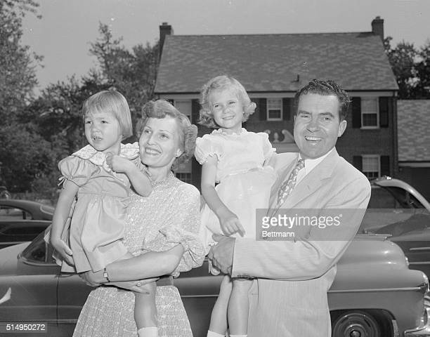 Senator Richard M Nixon poses here with his wife and two children in Washington after being nominated at the GOP Convention in Chicago as the...