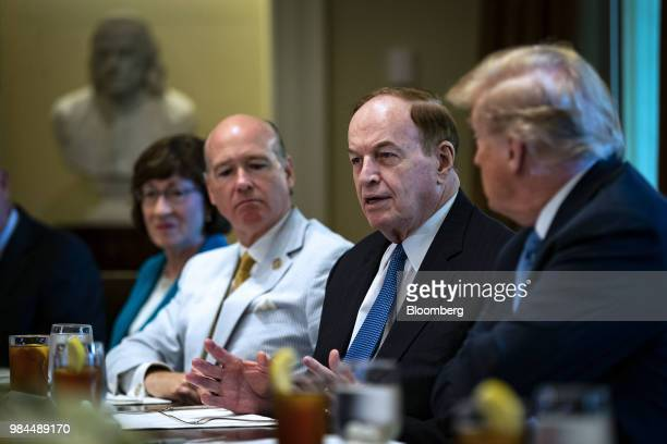 Senator Richard Shelby a Republican from Alabama speaks while US President Donald Trump right listens during a lunch meeting with Republican...