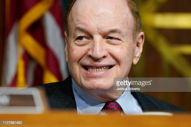 Senator Richard Shelby waits for Federal Reserve Chairman Jerome Powell to deliver the Federal Reserve's Semiannual Monetary Policy Report to the...