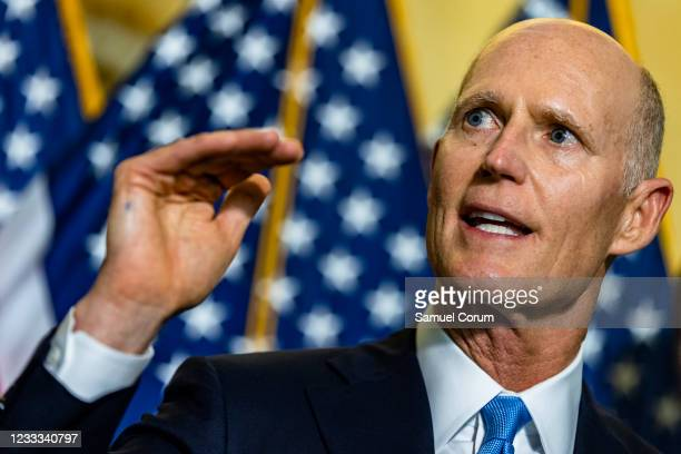 Senator Rick Scott speaks during a press conference following the Republicans policy luncheon in the Russell Senate Office Building on June 8, 2021...