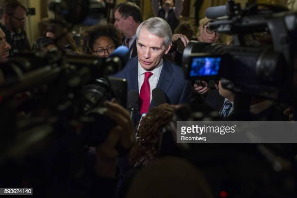 Senator Rob Portman a Republican from Ohio speaks to members of the media after a meeting on tax legislation at the US Capitol in Washington DC US on...
