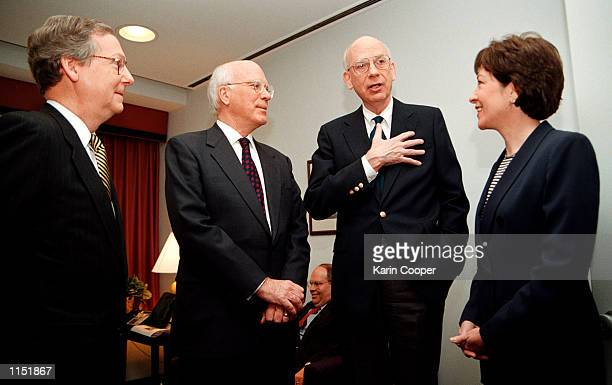 Senator Robert Bennett talks with Patrick Leahy Sen. Mitch McConnell and Sen. Susan Collins prior to their appearance on CBS's ''Face the Nation''...