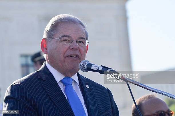 Senator Robert Bob Menendez speaks during the Fight For Families Rally in front of the Supreme Court of the United States on April 18 2016 in...