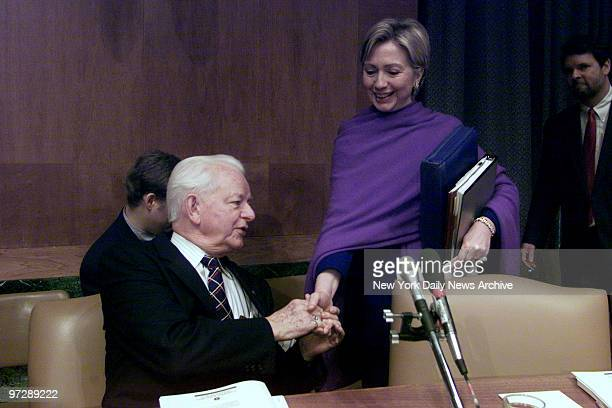 Senator Robert Byrd of West Virginia greets New York Senator Hillary Rodham Clinton prior to the start of the Senate Budget Committee hearing...