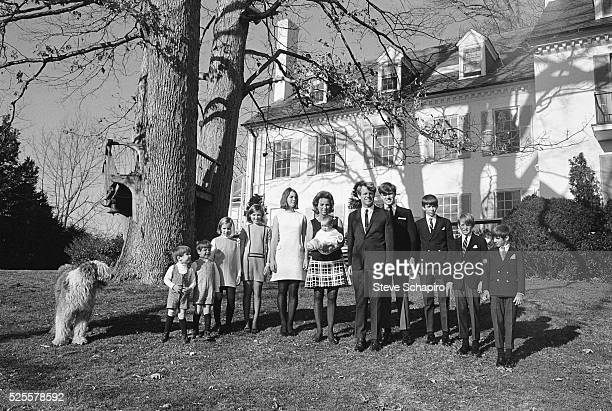 Senator Robert F Kennedy and his wife Ethel and their children pose for a portrait outside their Hickory Hill home McLean Virginia June 4 1967 Max...