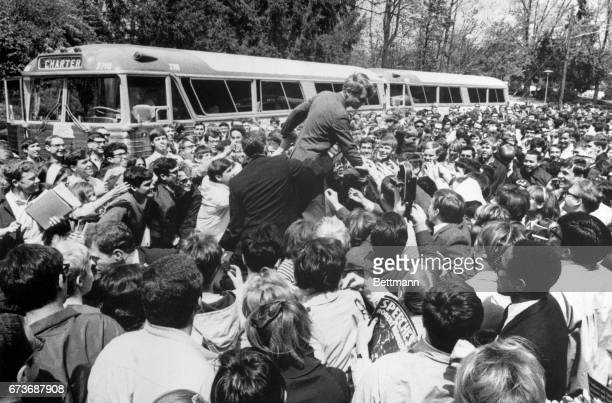 Senator Robert F Kennedy got his most enthusiastic reception yet in his Indiana presidential primary campaign when he visited Indiana University He...