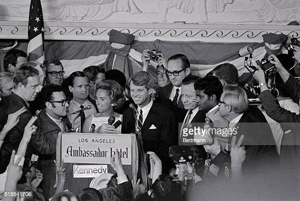 Senator Robert F Kennedy stands among supporters in the main ballroom of the Ambassador Hotel just after claiming victory in California's...
