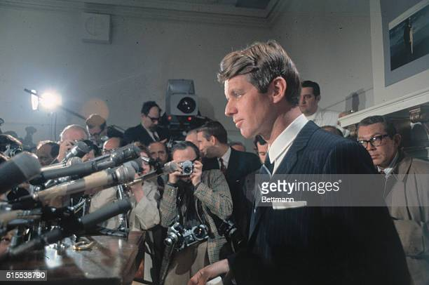 Senator Robert F. Kennedy tells a press conference April 1st he will continue to drive for the Democratic presidential nomination despite President...