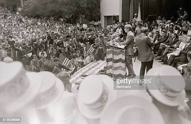 Senator Robert Kennedy democratic presidential candidate greets 4500 persons that crowd into the Greek theater in Griffith Park Kennedy spoke before...