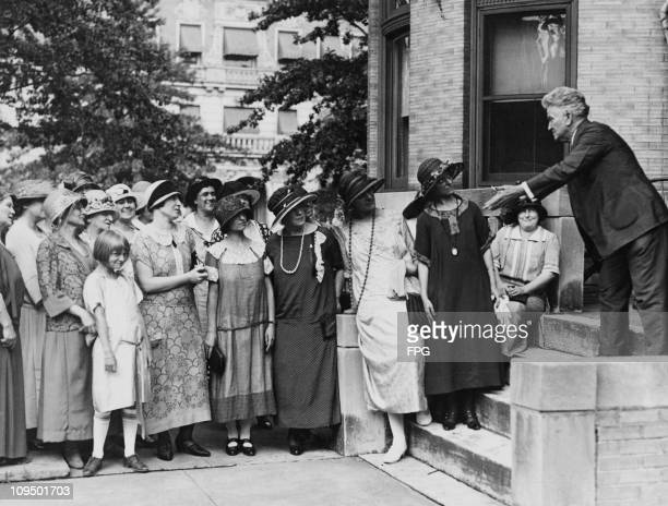 Senator Robert La Follette of the Progressive Party addresses the women's division of the party at the start of his presidential election campaign,...