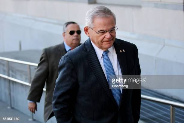 Senator Robert Menendez a Democrat from New Jersey arrives at federal court in Newark New Jersey US on Wednesday Nov 15 2017 The jury at the bribery...