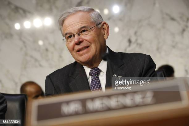 Senator Robert Menendez a Democrat from New Jersey arrives to a Senate Banking Committee confirmation hearing with Jerome Powell chairman of the US...