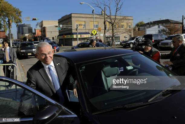 Senator Robert Menendez a Democrat from New Jersey left exits federal court in Newark New Jersey US on Wednesday Nov 15 2017 The jury at the bribery...