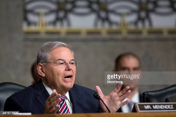 Senator Robert Menendez a Democrat from New Jersey questions witnesses during a Senate Foreign Relations Committee hearing in Washington DC US on...