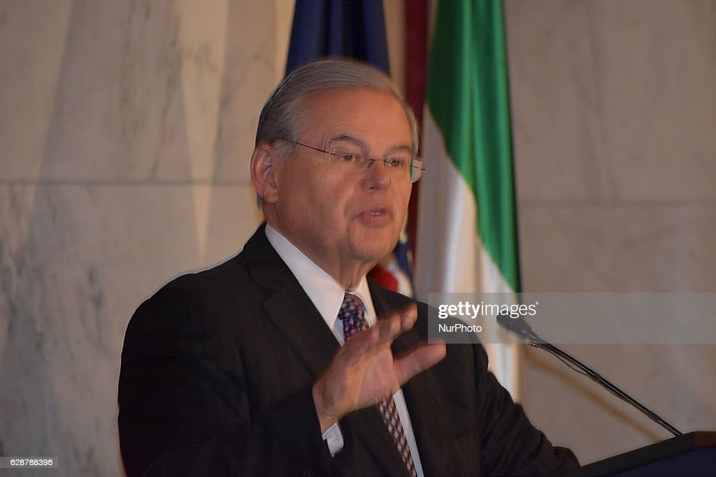 Senator Robert Menendez (D-NJ), a member of the Foreign Relations Committee, speaks to a packed audience at the Kennedy Caucus Room to discuss the threat of Iran and the need for the new administration to hold the Iranian regime accountable for its human rights abuses at home, its defiance of Security Council resolutions on the ban on testing ballistic missiles, and for its support for the Assad regime in Syria. The briefing was organized by the Organization of Iranian American Communities in the U.S.