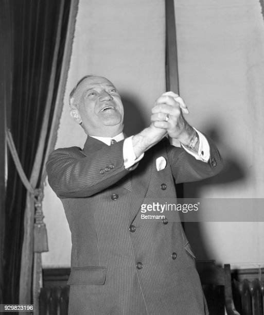 Senator Robert Wagner of New York pictured in a jubilant mood in his Washington DC offices after the Supreme Court had declared his Labor Relations...