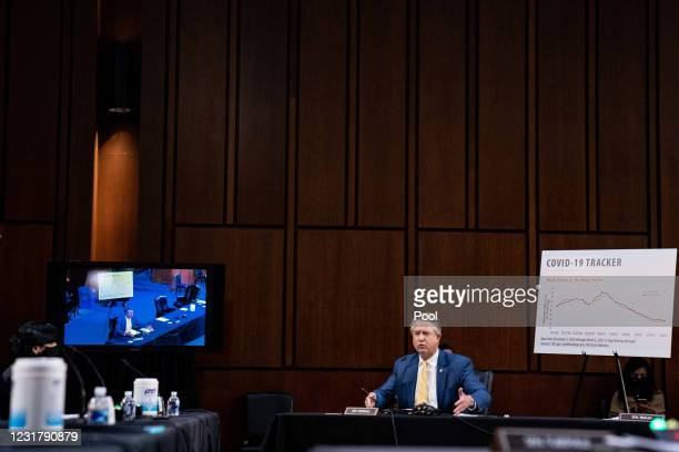 Senator Roger Marshall, R-Kan., speaks during a hearing with the Senate Committee on Health, Education, Labor, and Pensions, on the Covid-19...