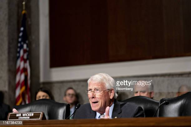 Senator Roger Wicker a Republican from Missouri and and chairman of the Senate Commerce Science and Transportation Committee questions Patricia...