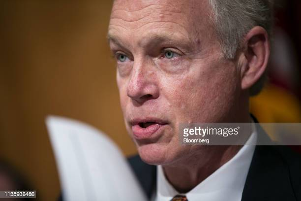 Senator Ron Johnson a Republican from Wisconsin and chairman of the Senate Homeland Security committee speaks during a hearing on Capitol Hill in...