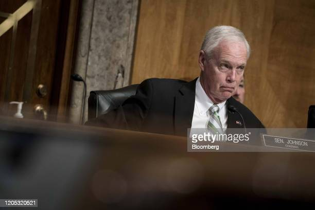 Senator Ron Johnson a Republican from Wisconsin and chairman of the Senate Homeland Security Committee listens during a hearing on Capitol Hill in...