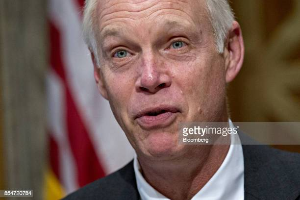 Senator Ron Johnson a Republican from Wisconsin and chairman of the Senate Homeland Security Committee makes an opening statement during a hearing in...