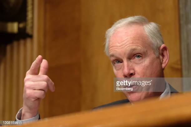Senator Ron Johnson a Republican from Wisconsin questions Chad Wolf acting secretary of the Department of Homeland Security not pictured during a...