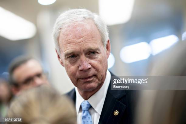 Senator Ron Johnson a Republican from Wisconsin speaks to members of the media near the Senate Subway in Washington DC US on Tuesday Jan 7 2020...