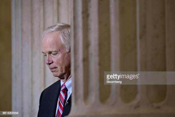 Senator Ron Johnson a Republican from Wisconsin waits to begin a Bloomberg Television interview on Capitol Hill in Washington DC US on Wednesday Nov...