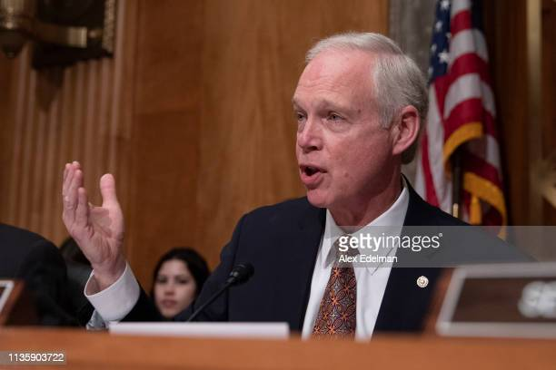 Senator Ron Johnson delivers his opening statement during a U.S. Senate Homeland Security Committee hearing on migration on the Southern U.S Border...