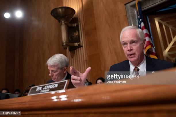 Senator Ron Johnson delivers his opening statement during a US Senate Homeland Security Committee hearing on migration on the Southern US Border on...