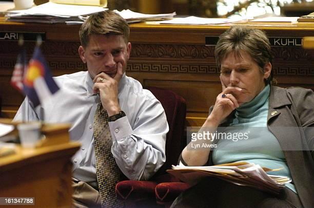 Senator Ron Tupa and Senate President Joan FitzGerald listen to lenghty debate on HB 1090 on the Senate floor on Wednesday concerning unlawful sexual...
