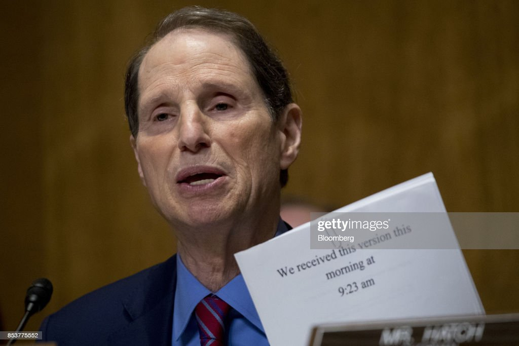 Senator Ron Wyden, a Democrat from Oregon and ranking member of the Senate Finance Committee, speaks during a hearing to consider the Graham-Cassidy-Heller-Johnson proposal in Washington, D.C., U.S., on Monday, Sept. 25, 2017. Senators sponsoring a last-ditch Obamacare repeal bill raced to save it from near-certain death Sunday, circulating a new version aimed at winning over several GOP holdouts. Photographer: Andrew Harrer/Bloomberg via Getty Images