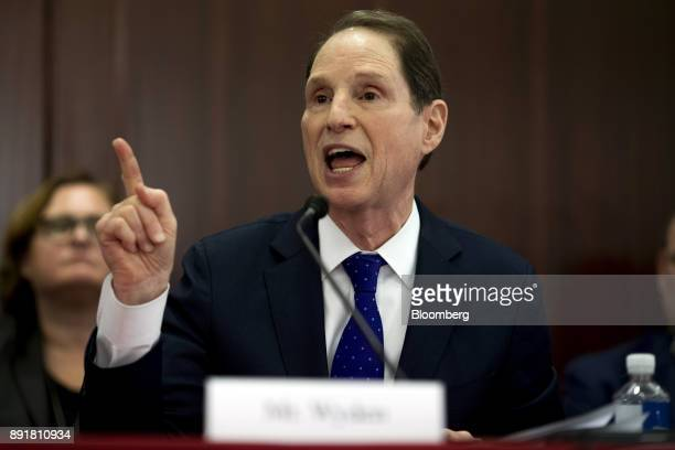 Senator Ron Wyden a Democrat from Oregon and ranking member of the Senate Finance Committee speaks during a HouseSenate conference meeting on the...