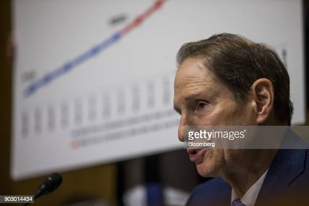 Senator Ron Wyden a Democrat from Oregon and ranking member of the Senate Finance Committee speaks during a confirmation hearing for Alex Azar...