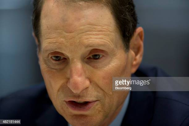 Senator Ron Wyden a Democrat from Oregon speaks during an interview in New York US on Monday July 14 2014 Wyden a persistent critic of the US...