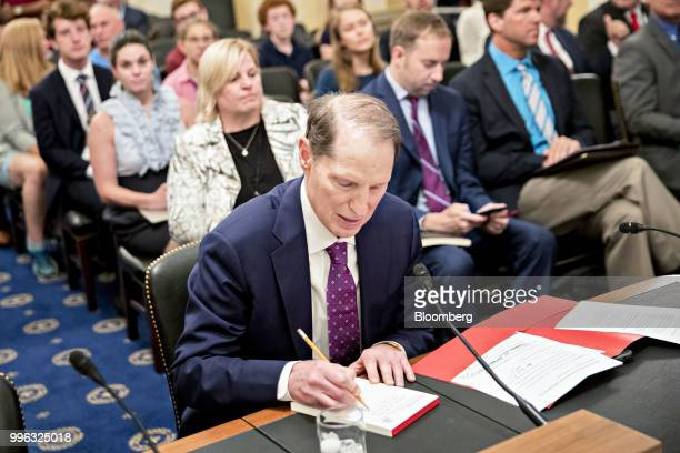 Senator Ron Wyden a Democrat from Oregon waits to begin a Senate Rules and Administration Committee hearing on election security in Washington DC US...