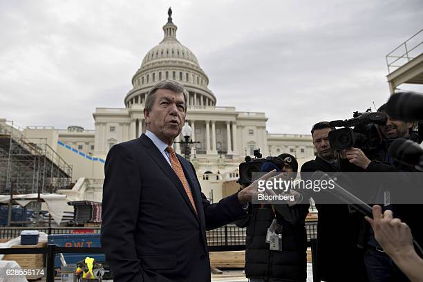 Senator Roy Blunt a Republican from Missouri and chairman of the Joint Congressional Committee on Inaugural Ceremonies speaks to members of the media...