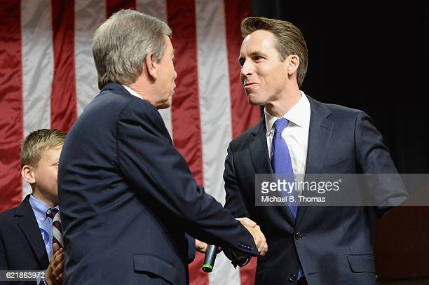 Senator Roy Blunt greets newly elected Missouri Attorney General Josh Hawley prior to speaking to supporters after winning his campaign for Missouri...