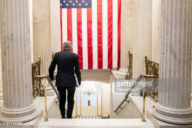 Senator Roy Blunt walks down stairs from the Capitol Rotunda after leaving meeting where Senate Republicans gathered immediately following the...