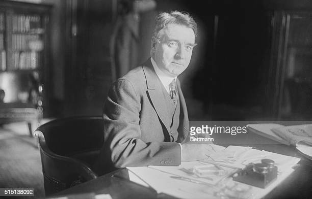 Senator Royal S. Copeland, former Health Commissioner of New York, photographed at his office in the Senate Building in Washington, where he is...