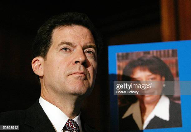 Senator Sam Brownback looks on during a news conference on Capitol Hill April 26 2005 in Washington DC Brownback and other Republicans are calling...