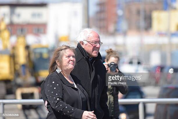 Senator Sanders arrives with wife Jane O'Meara Sanders Democratic presidential candidate Bernie Sanders addressed supporters on the Coney Island...