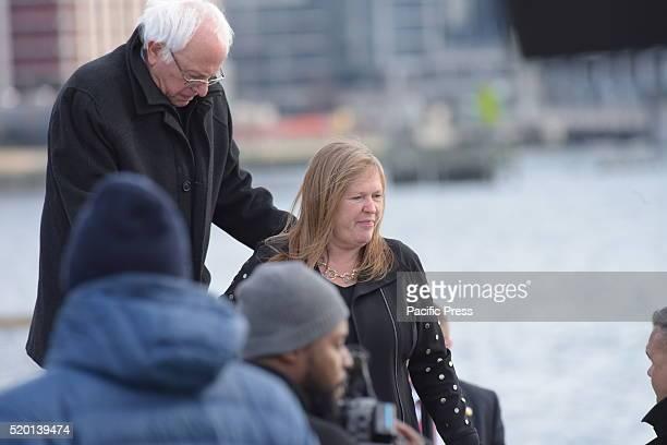 Senator Sanders escorts spouse Jane O'Meara Sanders from stage after speech Senator Bernie Sanders addressed a rally in Greenpoint Brooklyn's WNYC...