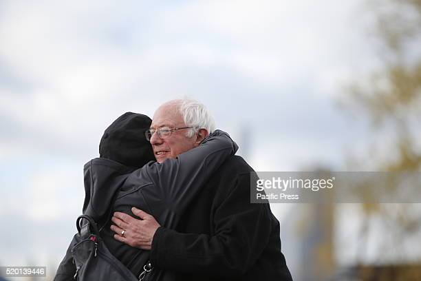 Senator Sanders greets actress Susan Sarandon with a hug after her introduction Senator Bernie Sanders addressed a rally in Greenpoint Brooklyn's...