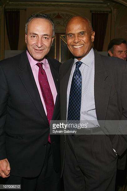 Senator Schumer and Harry Belafonte during Harvey Weinstein Hosts a Private Dinner and Screening of Bobby for Senators Obama and Schumer at Plaza...