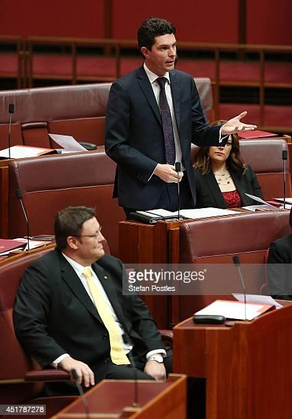 Senator Scott Ludlam speaks to his nomination for President of the Senate on July 7 2014 in Canberra Australia Twelve Senators will be sworn in today...
