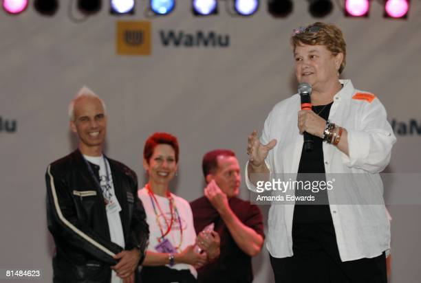 Senator Sheila James Kuehl receives the Melissa Etheridge Award at the Los Angeles Gay Pride Dyke March on June 6, 2008 in West Hollywood, California.