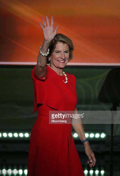 Senator Shelley Moore Capito a Republican from West Virginia waves while arriving to speak during the Republican National Convention in Cleveland...